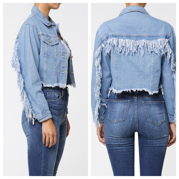 Autumn Cropped Mid Wash Fringe Back Denim Jacket