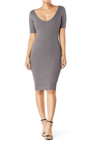 Kacy Ribbed Scoop Neck Bodycon Dress