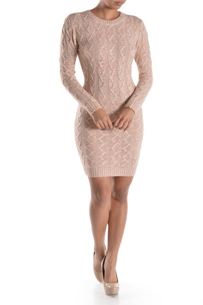Sylvia High Neck Cable Knit Sweater Dress