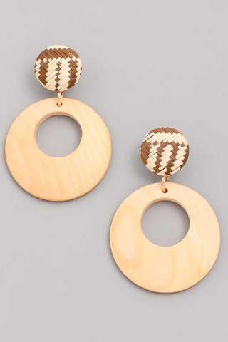 Woven and Wooden Geometric Earrings