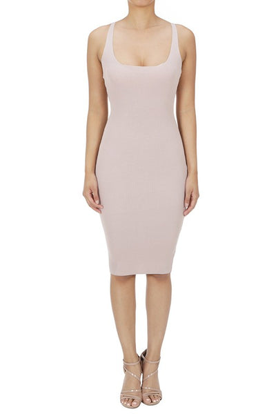 Rose Ribbed Scoop Neck Bodycon Dress