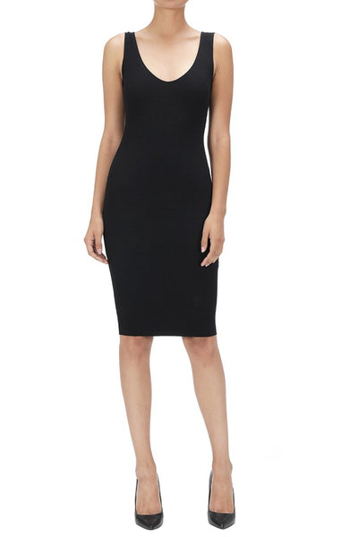 Aria Ribbed V-Neck Bodycon Dress