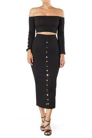 Elsie Ribbed Off Shoulder Knit Top & Bodycon Skirt Co-Ord