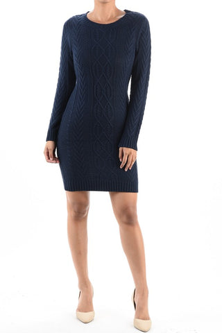 Cocoa High Neck Cable Knit Sweater Dress