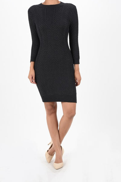 Sophie High Neck Cable Knit Sweater Dress