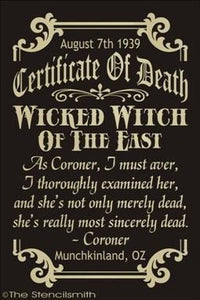 1552 - Certificate Of Death Wicked Witch
