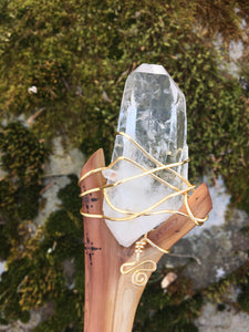 Clear quartz Crystal wire wrapped to cedar wood, magic wand for energy healing