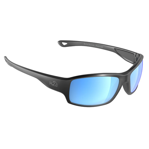 H2Optix Beachwalker Sunglasses Matt Gun Metal, Grey Blue Flash Mirror Lens Cat. 3 - AR Coating [H2036]