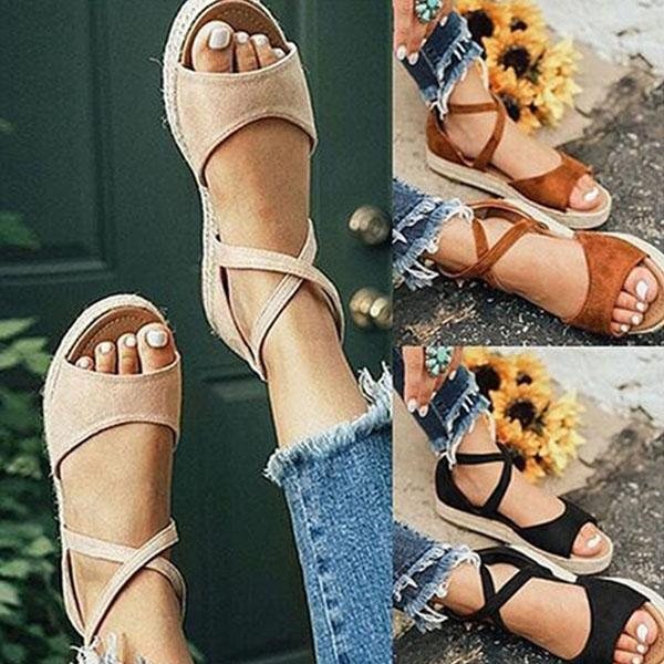 Corashoes Thick Bottom Roman Zipper Sandals