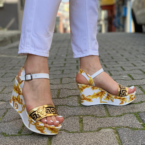 Corashoes Fashion Floral Wedge Sandals