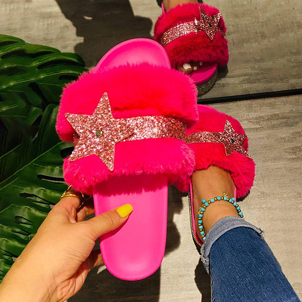 Corashoes Women Gorgeous Puffy Fur Bling Rhinestones Star Open Toe Slip On Slippers