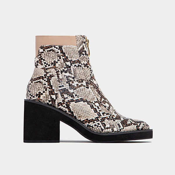 Corashoes Snakeskin Pointed-Toe Zipper Closure Ankle Boots