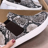 Corashoes Snakeskin Leopard Comfortable Slip-Up Sneakers