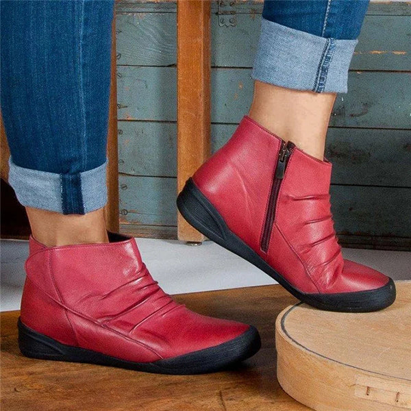 Corashoes Casual Leather Flat Side Zipper Boots