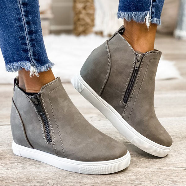 Corashoes Fashion Dual Zipper Closures Ankle Boots
