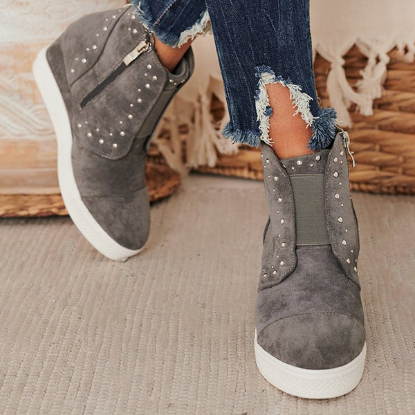 Corashoes Silver Embellishments Wedge Sneakers