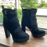 Corashoes Strapped Platform High Heel Boots