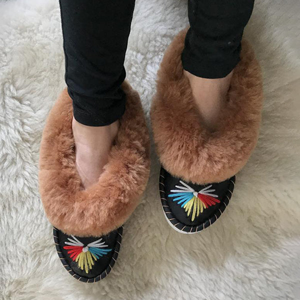 Corashoes Casual Comfortable Leather Fur Slippers