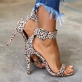 Corashoes Adjustable Ankle Strap Leopard Sandals