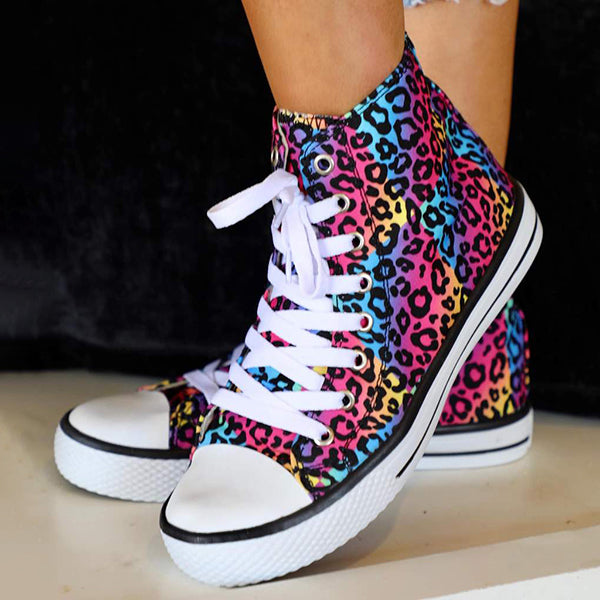 Corashoes Funky Fun Leopard High Top Sneakers