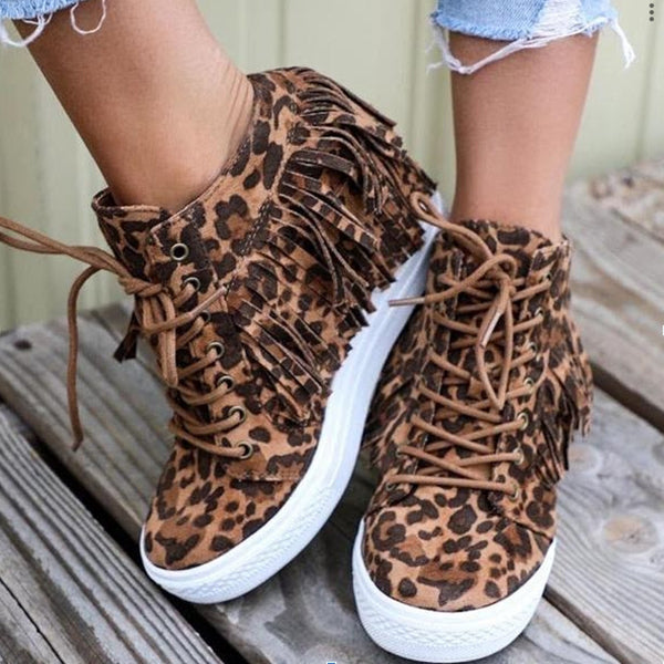 Corashoes The Leopard Lace Up Sneakers
