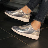 Corashoes Fashion Shiny Leather Platform Sneakers