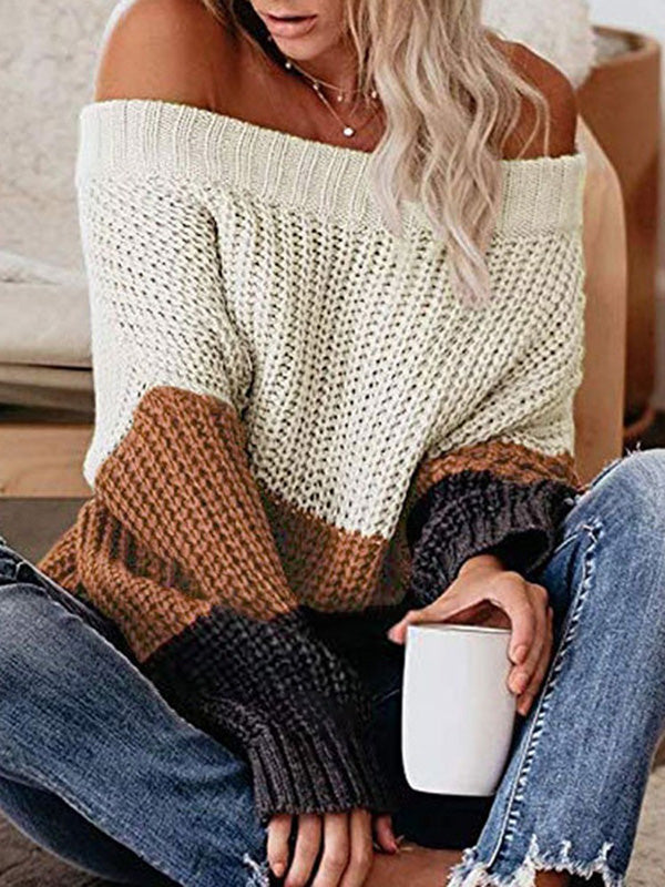 Corashoes Loose Color Block Off Shoulder Women Sweater