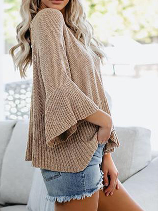 Corashoes Tie Back Knit Loose Boxy Sweater
