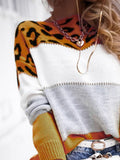 Corashoes Assorted Leopard Print Round Neck Casual Sweater