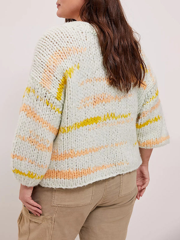 Corashoes Round Neck Boxy Cable Knit Sweater