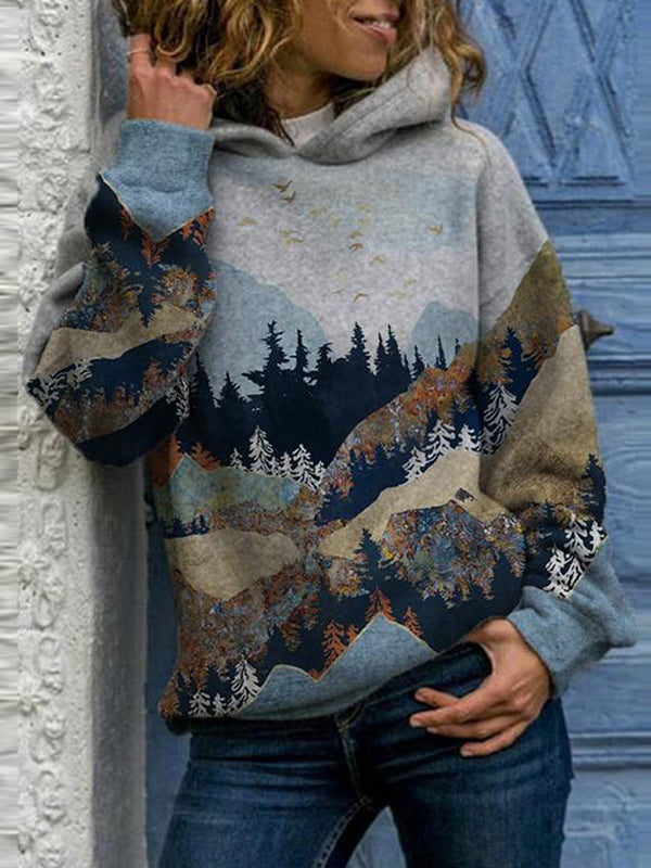 Corashoes Landscape Hoodie Long Sleeve Printed Sweater