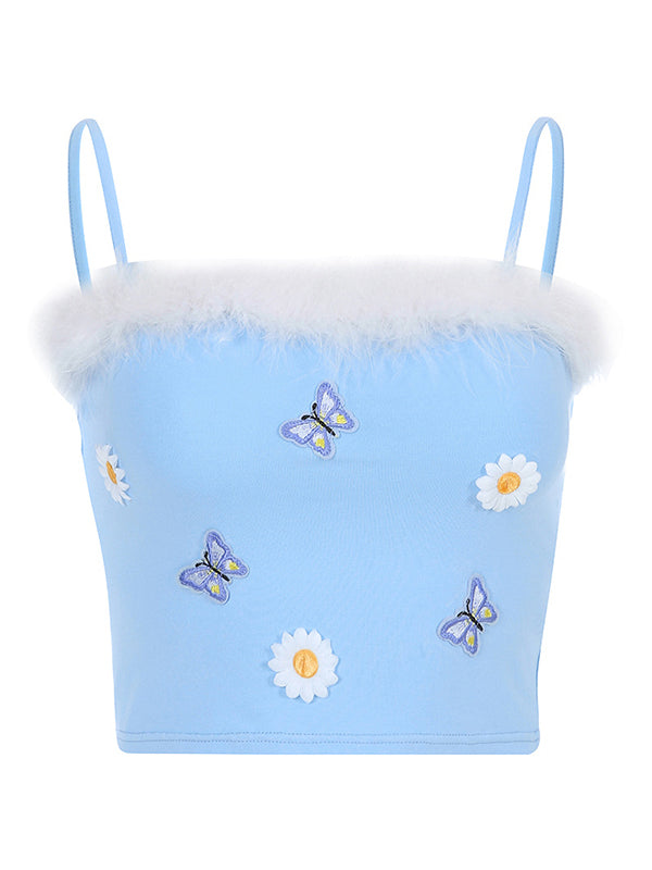 Corashoes Sweety Butterfly Embroidered Fur Slim Short Sling Vest