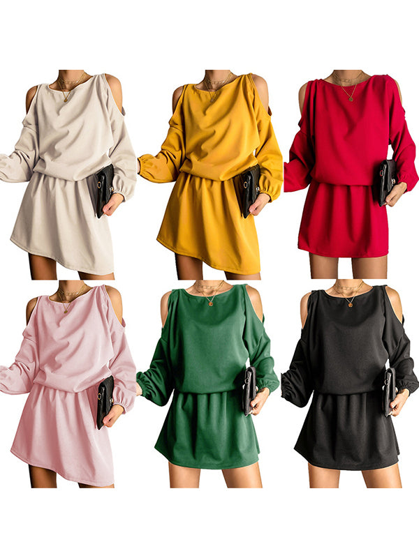 Corashoes Solid Color Strapless Miniskirt Dress