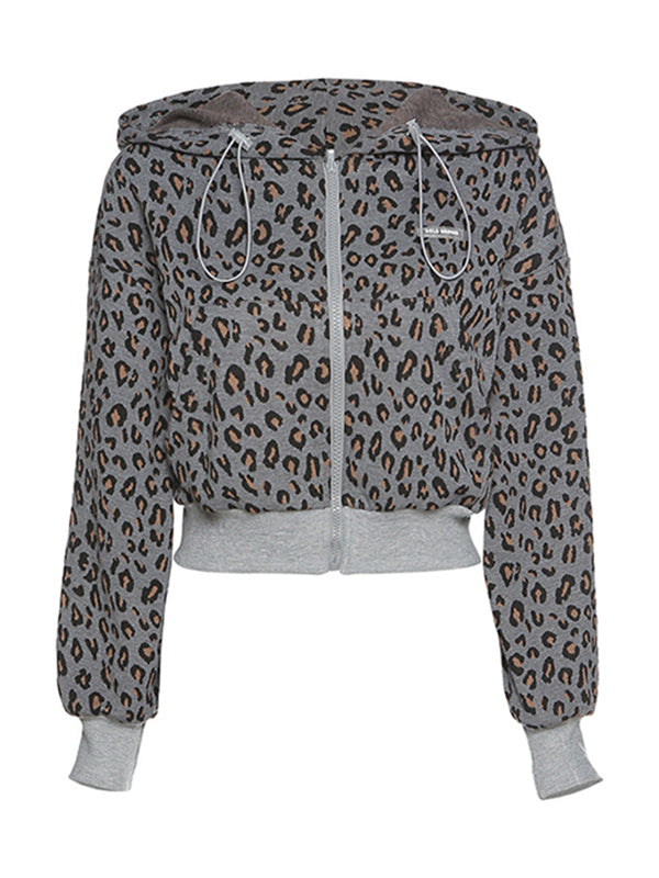 Corashoes Leopard Print Long-Sleeved Hooded Waist Short Cardigans