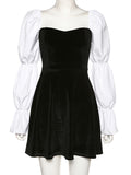 Corashoes Puff Sleeve Square Neck Slim Fit All-Match Street Fashion A-Line Dress