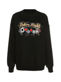 Corashoes Long Sleeve Round Neck Embroidered Loose Sweatshirts