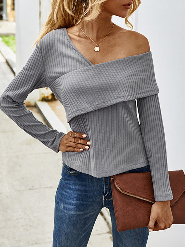 Corashoes Sexy Off-Shoulder Long-Sleeved T-Shirt