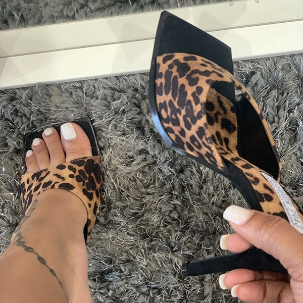 Corashoes Leopard Print High Heel Slippers
