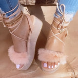Corashoes Cute Hairy Crossed Platform Sandals