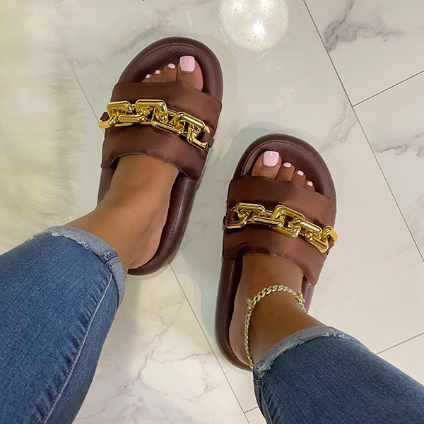 Corashoes Summer Leather Metal Buckle Slippers