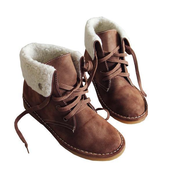 Corashoes Winter Warm Suede Lace Boots