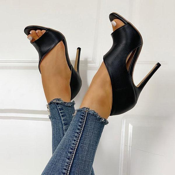 Corashoes Cutout Peep Toe Thin Heeled Heels (Ship in 24 Hours)