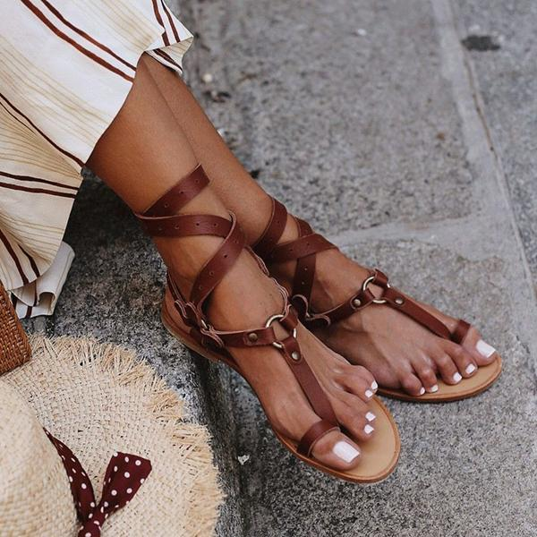 Corashoes Ankle Strap Flat Heel Strappy Comfortable Sandals