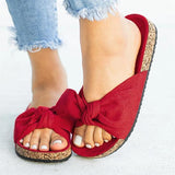 Corashoes Cute Bowknot Platform Flat Slippers
