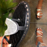 Corashoes Rhinestone Criss-Cross Slip-On Slippers