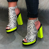 Corashoes PU Leather Chunky Heels