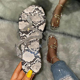 Corashoes Women Rhinestones Snakeskin Open Toe Slip On Flat Heel Slippers