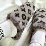 Corashoes Printed Plush Fashion Slippers