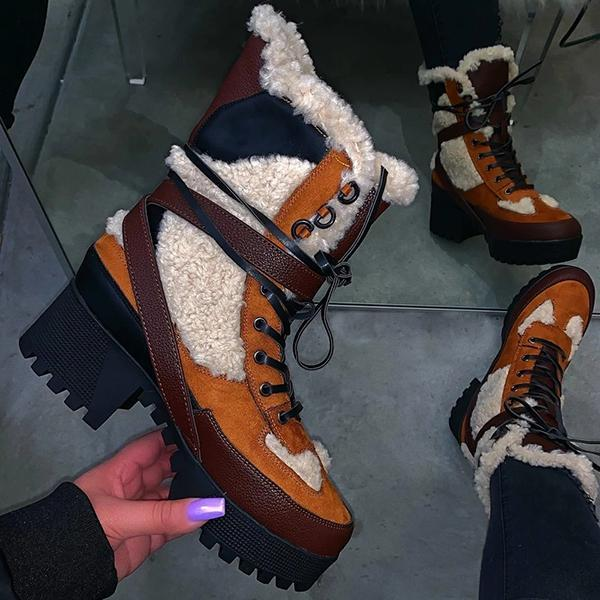 Corashoes Stitching Warm Thick-Soled Fashion Autumn Winter Boots