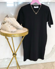 Shoulder Pad Tee Shirt Dress